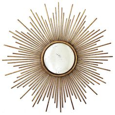 La Villette Antique Gold Hollywood Regency Sunburst Mirror contemporary mirrors Kathy Kuo Home #mirror