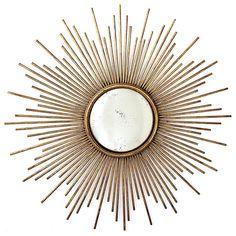 La Villette Antique Gold Hollywood Regency Sunburst Mirror contemporary mirrors Kathy Kuo Home #mirror