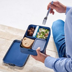 This Bento Lunchbox is a hip and modern take on the traditional Japanese lunchbox. It is spacious and can fit up to four sandwiches, and it features a special sealing ring that keeps your food nice and fresh! It also comes with a divider to separate food. Dishwasher-safe and 100% BPA-free. Made in the Netherlands.