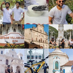 Riding through the whites of Goa will make you feel like you are on a movie set. Some movie stars feel that way too. #letsblive #funoverfuel #oldgoa #northgoatrails #fun #ev #ecotourism #eco #tours #ebikes #discovery #goavibes