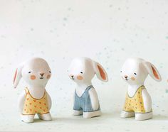 SALE Miniature bunny - Swimmer rabbit  - paper clay animal art toy