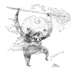 Skull Kid Sketch by Logan Faerber #fantasy #spear #illustration #magic #monster #skull #character #sketch #creature