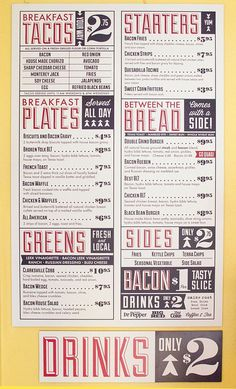 Bacon Menus #typography #vintage #type #layout #bacon #austin #texas
