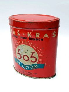 PrettyClever #red #packaging #505 #tin #vintage #blue #worn