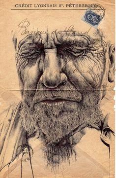 Colossal | An art and design blog. #stamp #portrait #envelope #vintage #pen