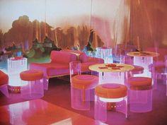 1970s interior design #interior #acrylic #space #glass #furniture #transparent #plexi #object #light #neon