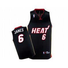 NBA Lebron James Heat Black Adidas Jersey #6 White Red Number