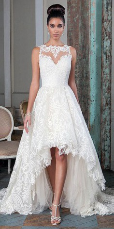 For brides who can't decide between long and short dress, we offer the collection of high low wedding dresses. These dresses are unconventional, but they are as elegant and chic as the classic wedding dress.
