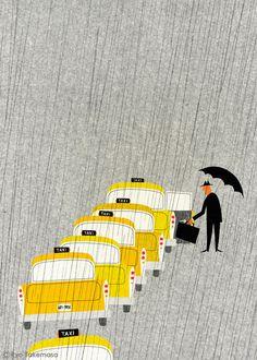 武政 諒 Ryo Takemasa | illustration #umbrella #yellow #rain #taxi #ilustration