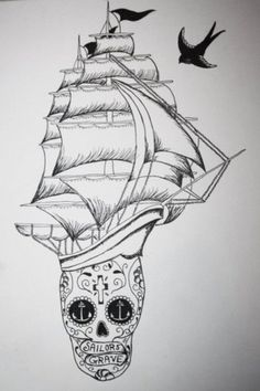 VINCENT #swallow #illustration #tattoo #boat #anchor #skull