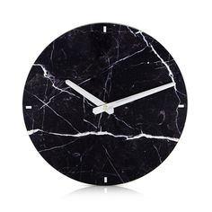 Round Marble Look Black Open Face Wall Clock 25cm