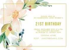 Floral Edge - Birthday Invitations #paperlust #birthday #invitation #birthdaycards #birthdayinvitation #design #floral #digitalcards #foils