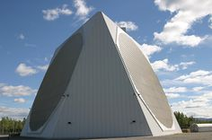 The Solid State Phased Array Radar System (SSPARS) in protective dome at Clear Air Force Station. Image Airforce Technology #radar #phased #array