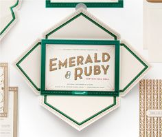 Cue | Children's Theatre Co. | Emerald & Ruby #invite #print #design #cue #emerald