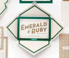 Cue | Children's Theatre Co. | Emerald & Ruby #invite #print #design #cue #emerald