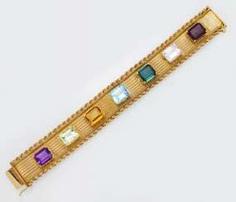 Gold bracelet with Color stones