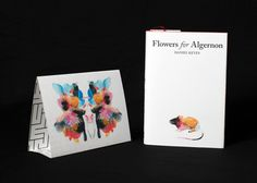 Flowers for Algernon book jacket + table tent #watercolor #inkblot #negativespace #bookcover #bookjacket #books #literature #color