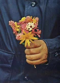 The Pursuit Aesthetic #woman #pink #button #yellow #coat #flower #blue #man #hand #love #green