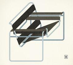 Modern Furniture Mid-Century Poster – Graphic Design, Illustration inspiration on MONOmoda #illustration #chair