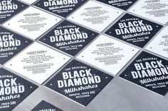 Black diamond shake > Buddy Creative #milkshakes #branding #1950s #business #sweet #diamonds #identity #stationery #type #cards #typography