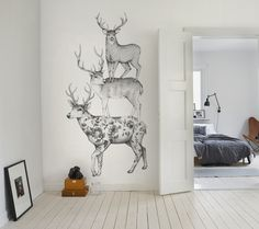 Three Dears wall murals wallpaper | Rebel Walls #interior #deer #white #mural #design #black #illustration #and #wallpaper #animal #sketch