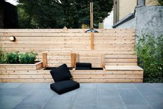 Modern in Bed Stuy contemporary patio #interior design #wood #bench