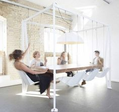 This Swing Table Set ensures that your meetings or dinners are packed with fun, with your guests swaying and swinging in delight. #design #p