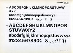 Univers 65 type specimen