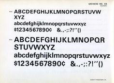Univers 65 type specimen #type #specimen #typography