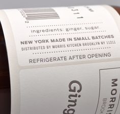 HAND MADE GINGER SYRUP, 8 OZ BOTTLE :: HICKOREE'S #packaging #syrup