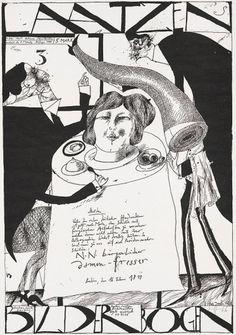 Laatzen Bilderbogen 1. Folge 3. Bogen 1967 Horst Janssen #janssen #horst #illustration #poster #zincography