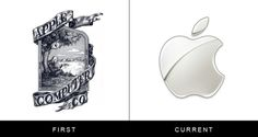 The original and current form of famous logos | StockLogos.com #history #apple #old #logo #mac