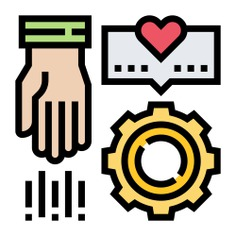 See more icon inspiration related to Sponsor, help, support, gear, aid, assist, share, hands and gestures and sharing on Flaticon.