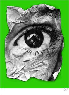 JR Eye Froisse (Green), 2011 Lot Number 68 Screenprint​ on 100% cotton paper​