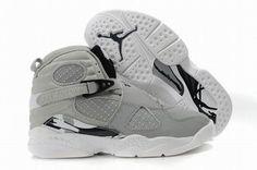 Air Jordan 8 Retro Grey/White Kids\'s