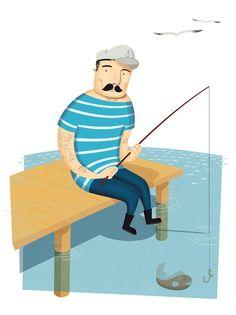 Alexandre Mauro's Portfolio #water #fisherman #fish #illustration #lake