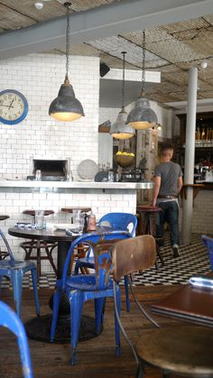 The Londoner: Hillbillies #interior #brick #old #restuarant #white #wood #furniture #metal #rusted