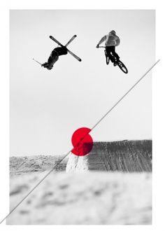   so, I like minimalism photo©roger gruetter #white #sky #pink #photo #ski #design #snow #bike
