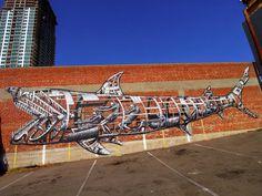 A Mechanical Shark Mural by Phlegm in San Diego street art sharks San Diego murals #mural #art