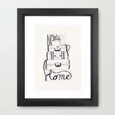 Nowhere Home - Framed Art Print #lettering #travel #home