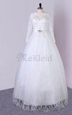 A linie Paillettenbesetztes Konservatives Brautkleid aus Tüll aus Paillette