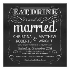 Chalkboard Eat Drink be Married Invitations #invitations #wedding