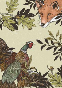 Fox & Pheasant #fox #pheasant #illustration