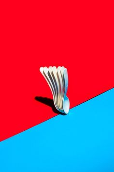M.Z.L.WSK. #graphic design #spoons #red #blue #shadow #minimal #colour #vibrant #design
