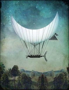 Otherwordly, Ethereal Digital Collages of Illustrations and Old Photos DesignTAXI.com #crescent #fantasy #bizarre #ethereal #digital #illustration #floating #collage #moon