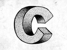 3D C #font #typo #c #typography