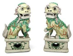 Two yellow and green glazed Fo dogs, made of porcelain #Sets #Teasets #Porcelainsets #Antiqueplates #Plates #Wallplates #Figures #Porcelainfigurines #porcelain