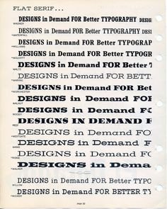 Filmotype slab-serif type specimen