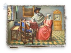 Snuff box: extremely rare Art Deco snuff box with fine enamel magnifying glass painting, and built-in watch, Carl F. Bucherer of Lucerne, around 1930