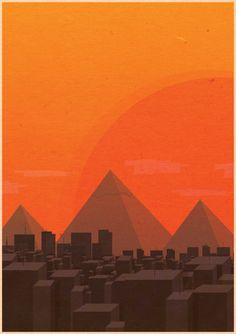 Egypt #illustration #flatdesign #flat #egypt #piramid #sun #orange #cairo #poster #design #giza #3 #illustration #flatdesign #flat #egypt #p